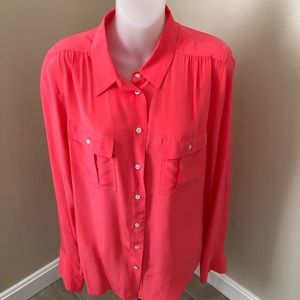 COPY - J. Crew coral button down blouse size 10